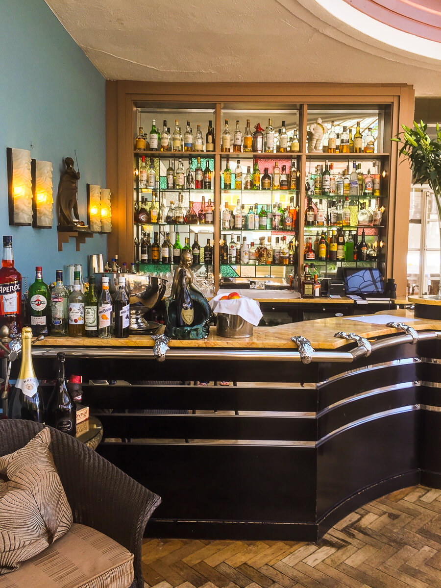 The bar in Palm Court at Burgh Island Hotel in Devon