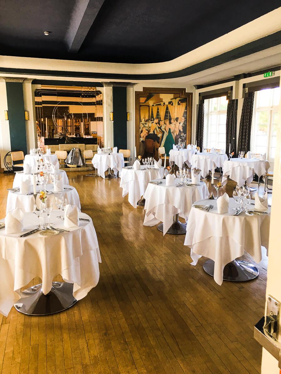 The Grand Ballroom restaurant at Burgh Island Hotel in Devon