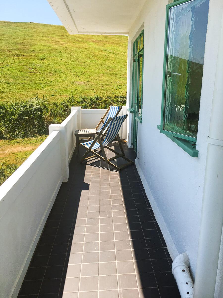 Balcony in Nettlefold room at Burgh  Island Hotel
