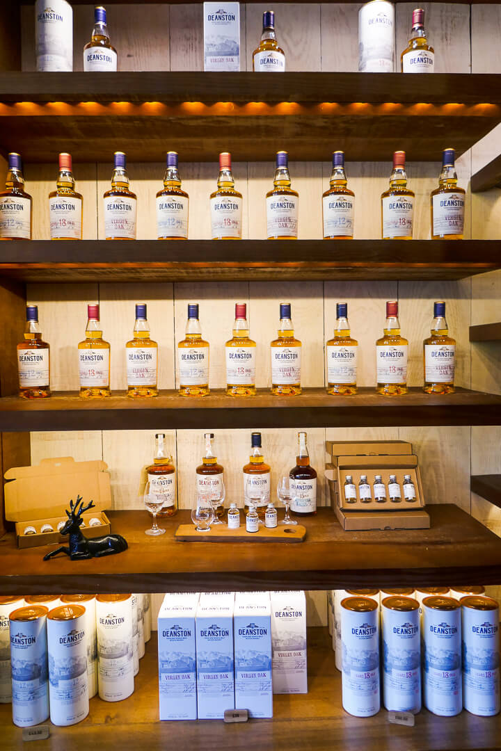 The shop at the Deanston whisky distillery in Perthshire, Scotland