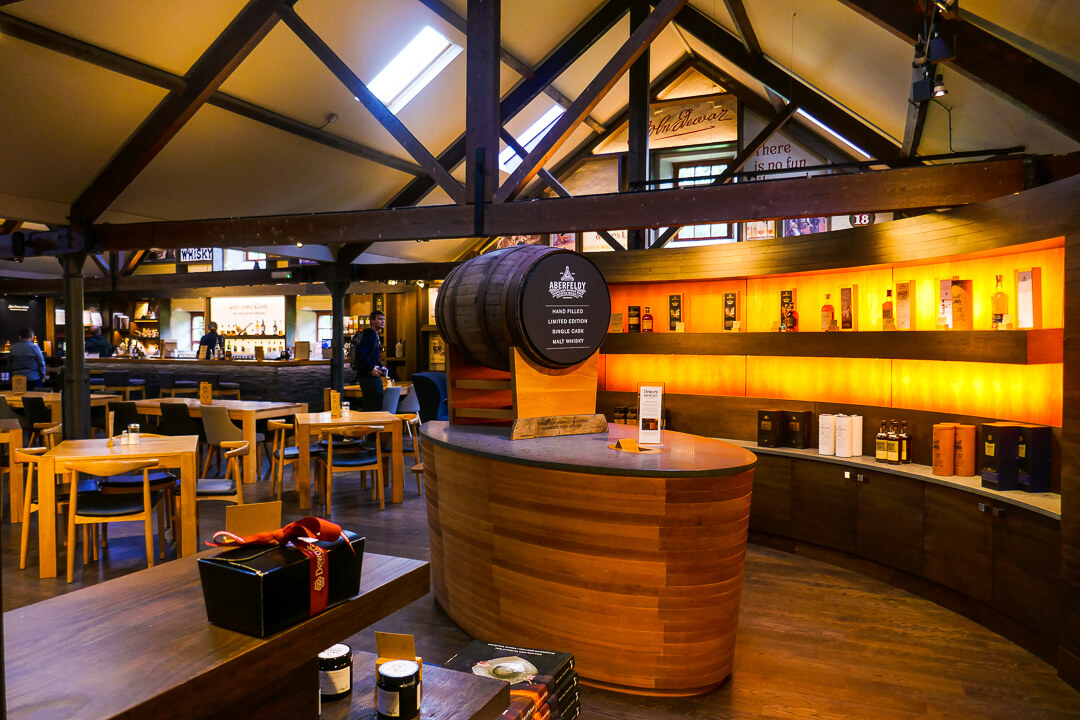 The shop at the House of Dewar's Aberfeldy whisky distillery in Perthshire, Scotland