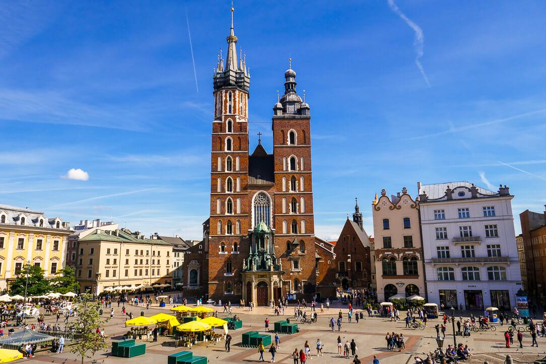 View from Café Szał of St Mary's Basilica Kraków