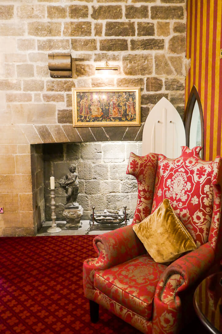 The Derwentwater Room at Langley Castle, a hotel in Hexham, Northumberland, England