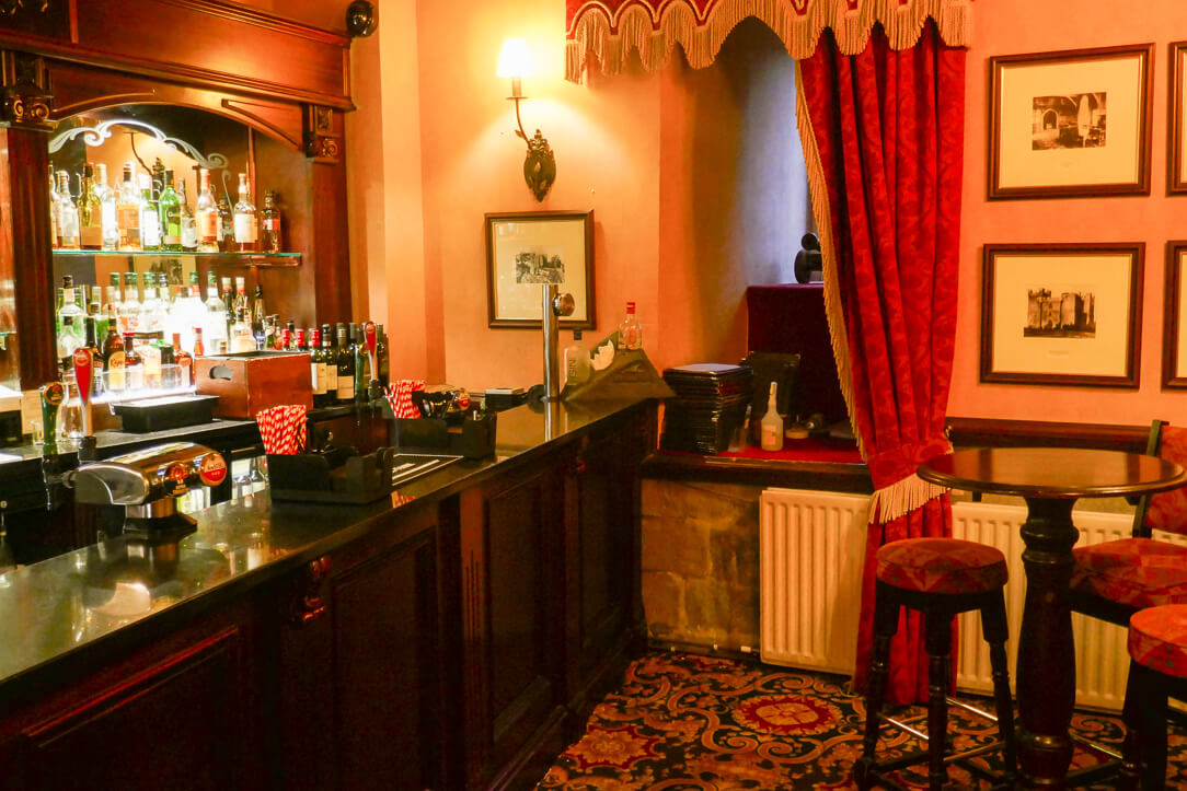 The bar at Langley Castle