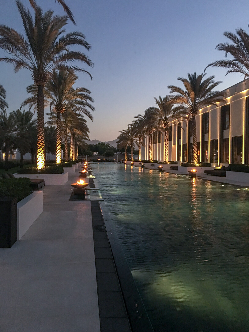 The Long Pool at the Chedi, a luxury hotel in Muscat