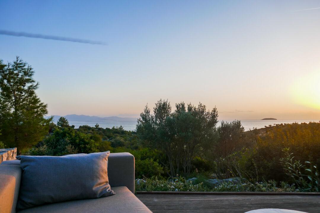 Sunset at Six Senses Kaplankaya hotel near Bodrum in Turkey