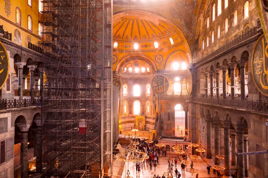 Scaffolding at Hagia Sophia museum in Istanbul Turkey