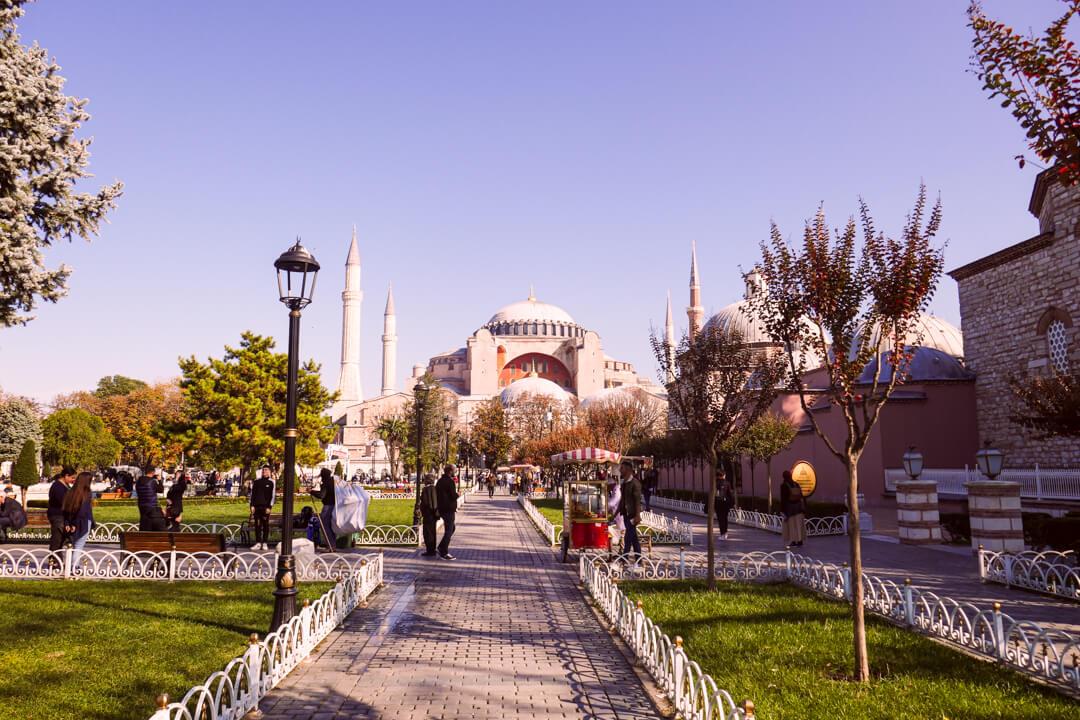 Hagia Sophia Museum as seen from Sultanahmet Square in Istanbul Turkey