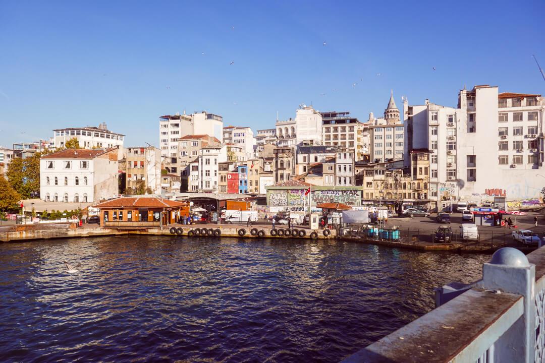 View of Beyoğlu and the Galata Tower from the Galata Bridge in Turkey