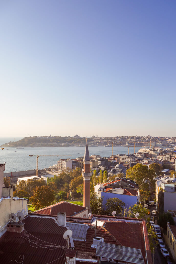 View from the rooftop terrace at Witt Istanbul Suites in Beyoğlu Turkey