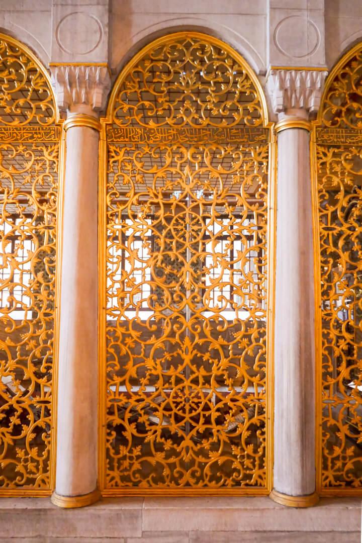 Interior of Hagia Sophia museum in Istanbul Turkey