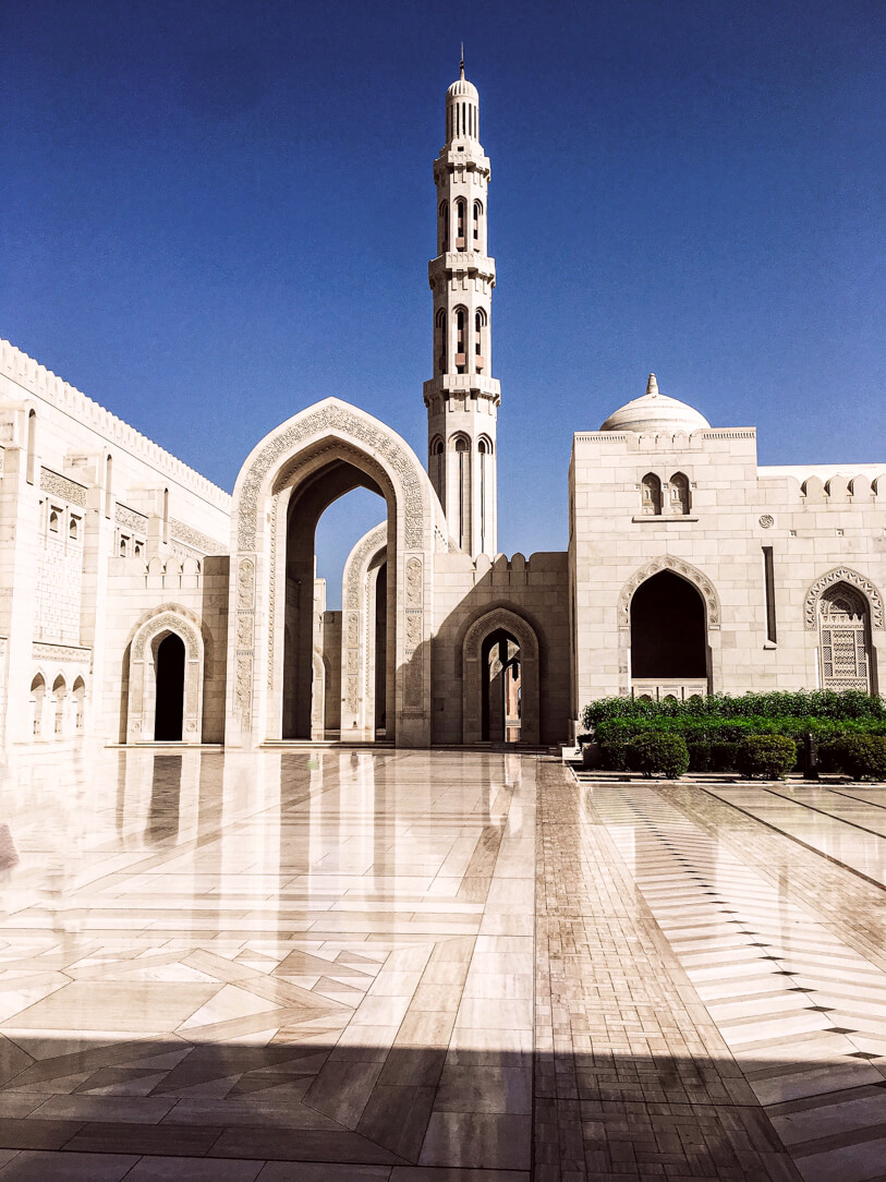 Exterior of Sultan Qaboos Grand Mosque on our private Muscat city tour