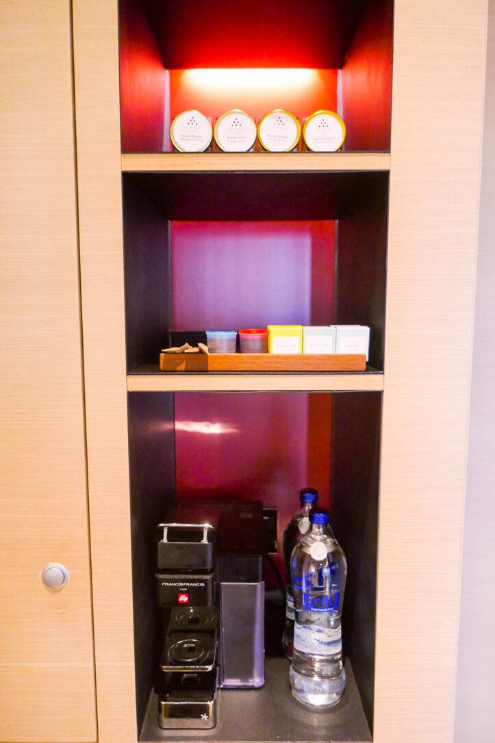 Coffee machine and amenities