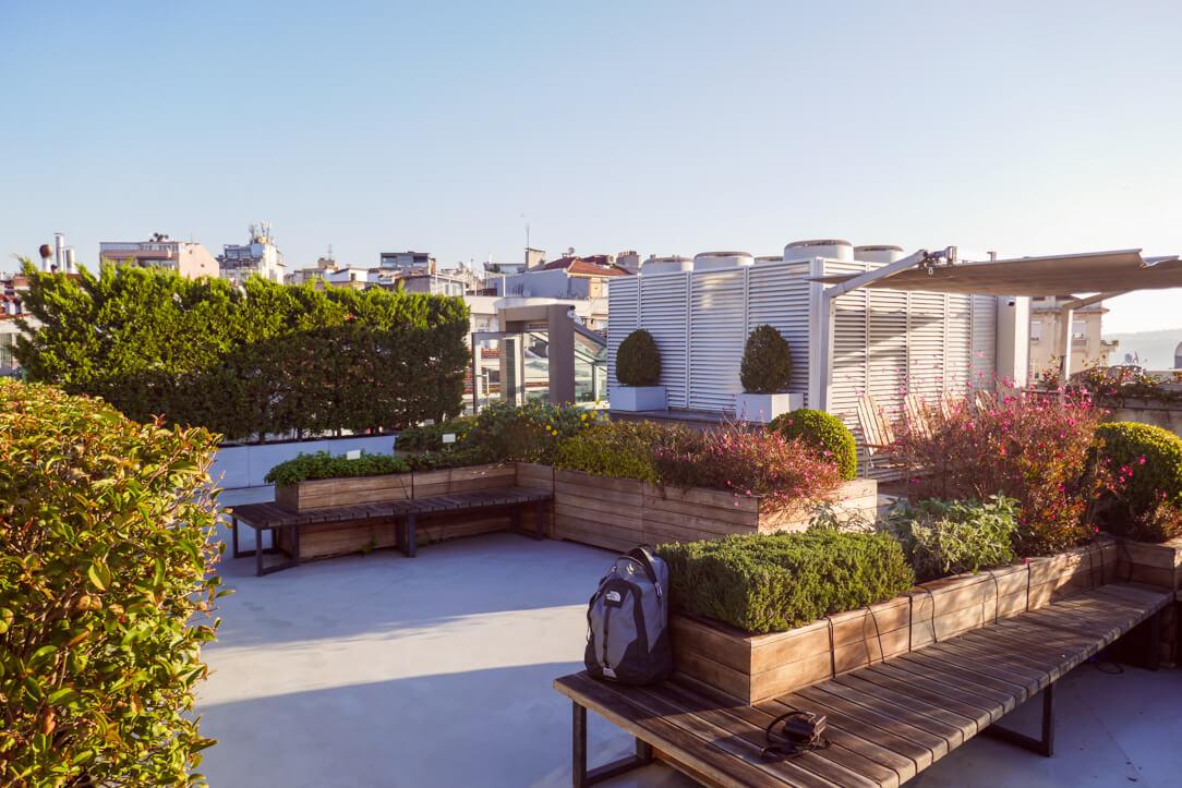 Rooftop garden at Witt Istanbul Suites