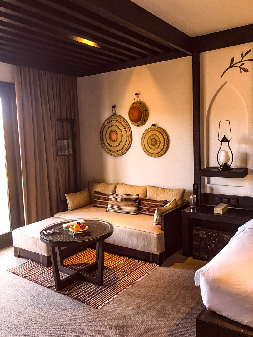 Living rooms area at the Alila Jabal Akhdar luxury hotel in Oman