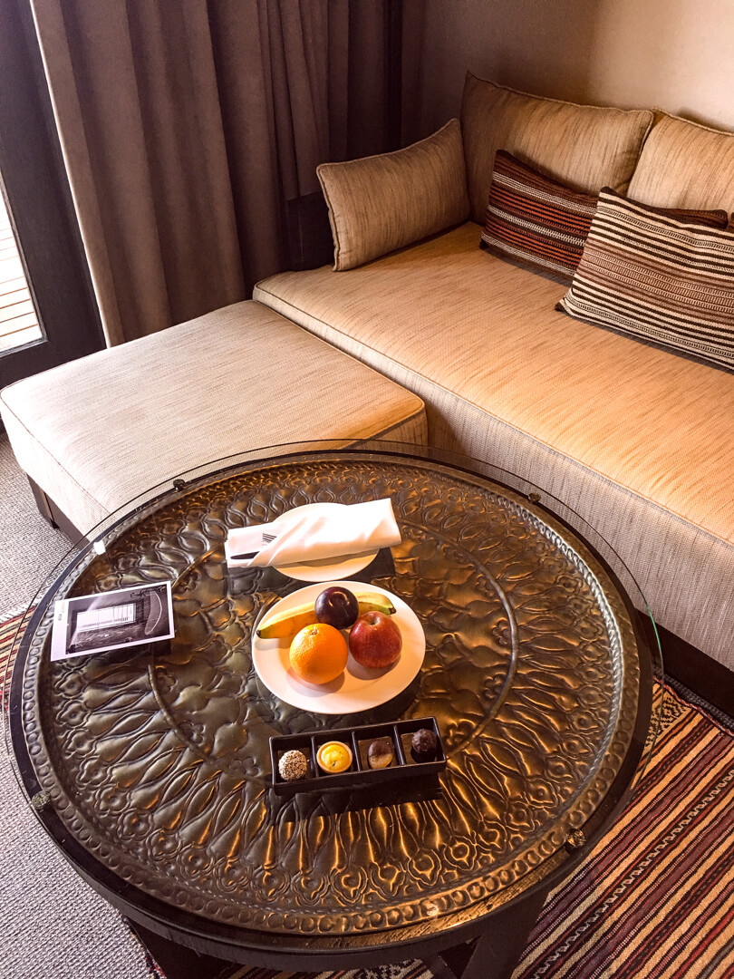 Welcome amenities at the Alila Jabal Akhdar luxury hotel in Oman