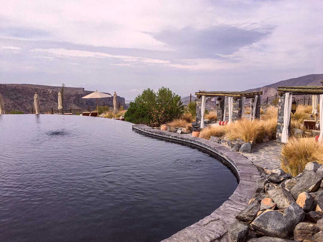 Infinity pool at the Alila Jabal Akhdar luxury hotel in Oman