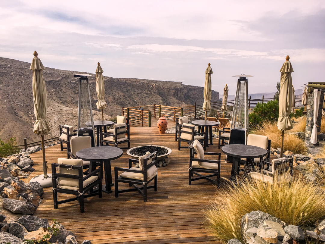 Rose Bar at the Alila Jabal Akhdar luxury hotel in Oman