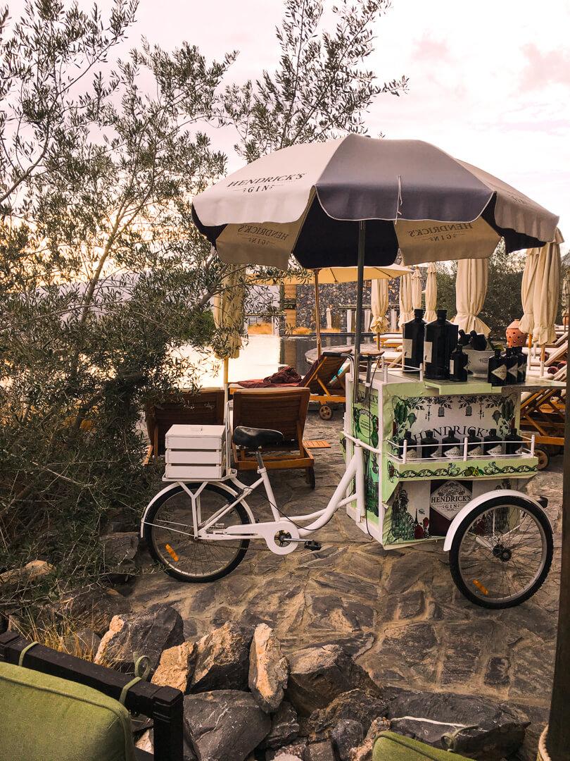 Hendricks gin cart at the Alila Jabal Akhdar luxury hotel in Oman