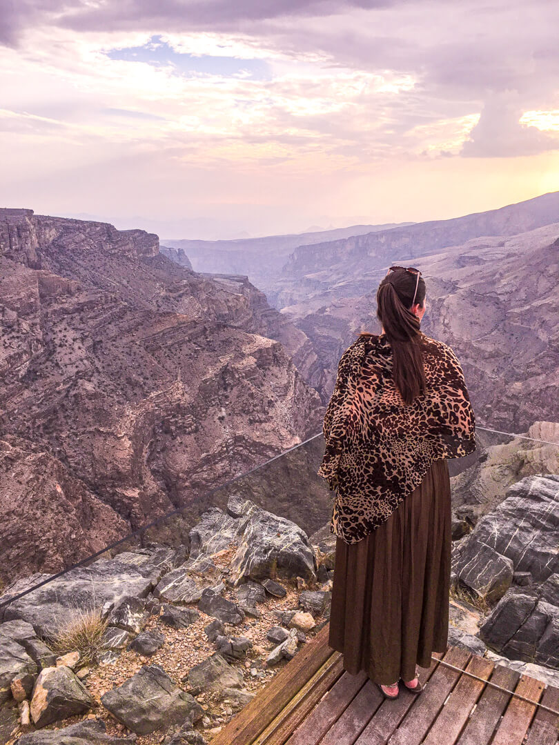 View of the mountains at the Alila Jabal Akhdar luxury hotel in Oman