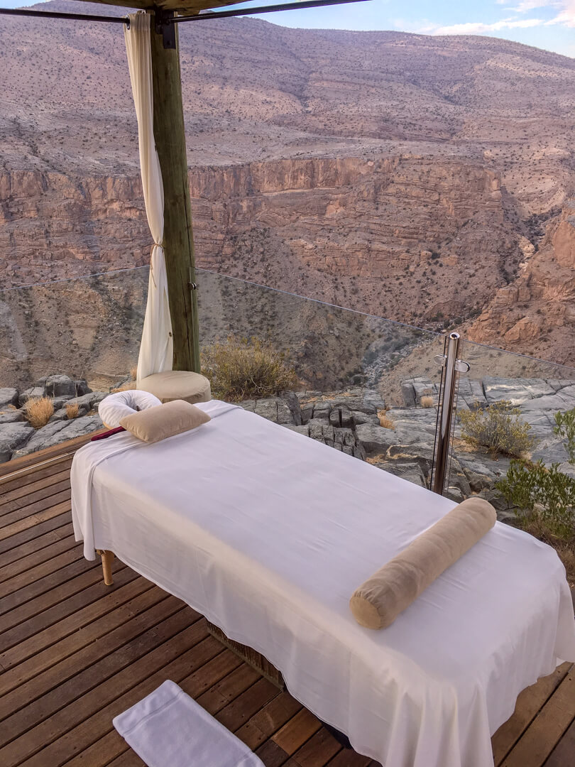Outdoor massage bed at the Alila Jabal Akhdar luxury hotel in Oman