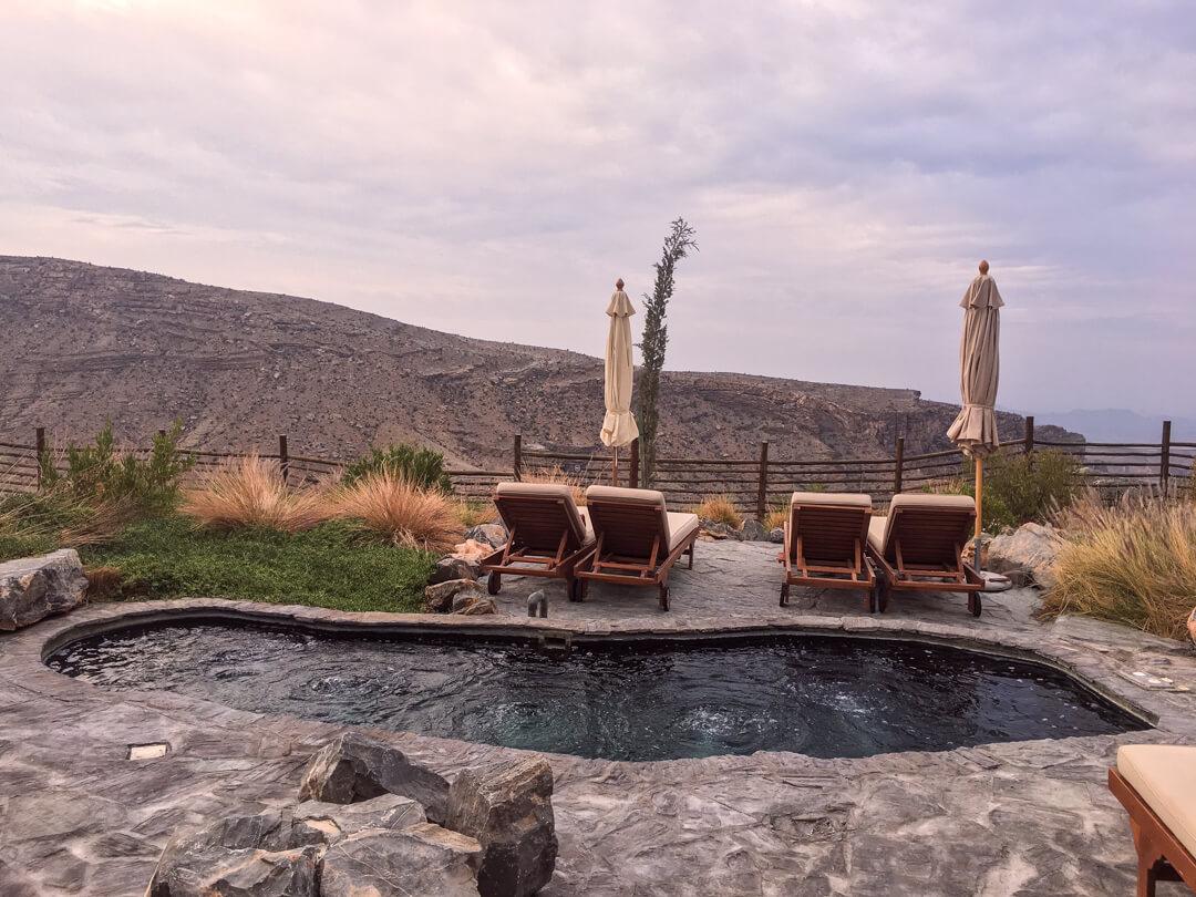 Satellite whirlpool baths at the Alila Jabal Akhdar luxury hotel in Oman