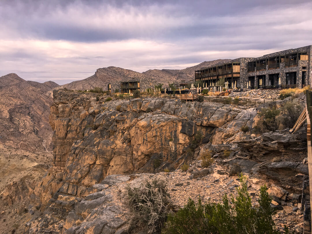 at the Alila Jabal Akhdar luxury hotel in Oman built into the mountainside