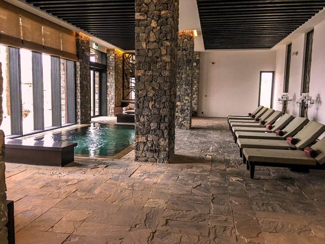Indoor pool at the Alila Jabal Akhdar luxury hotel in Oman