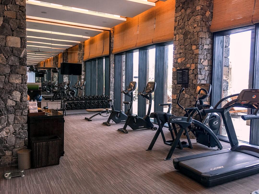 Gym at the Alila Jabal Akhdar luxury hotel in Oman