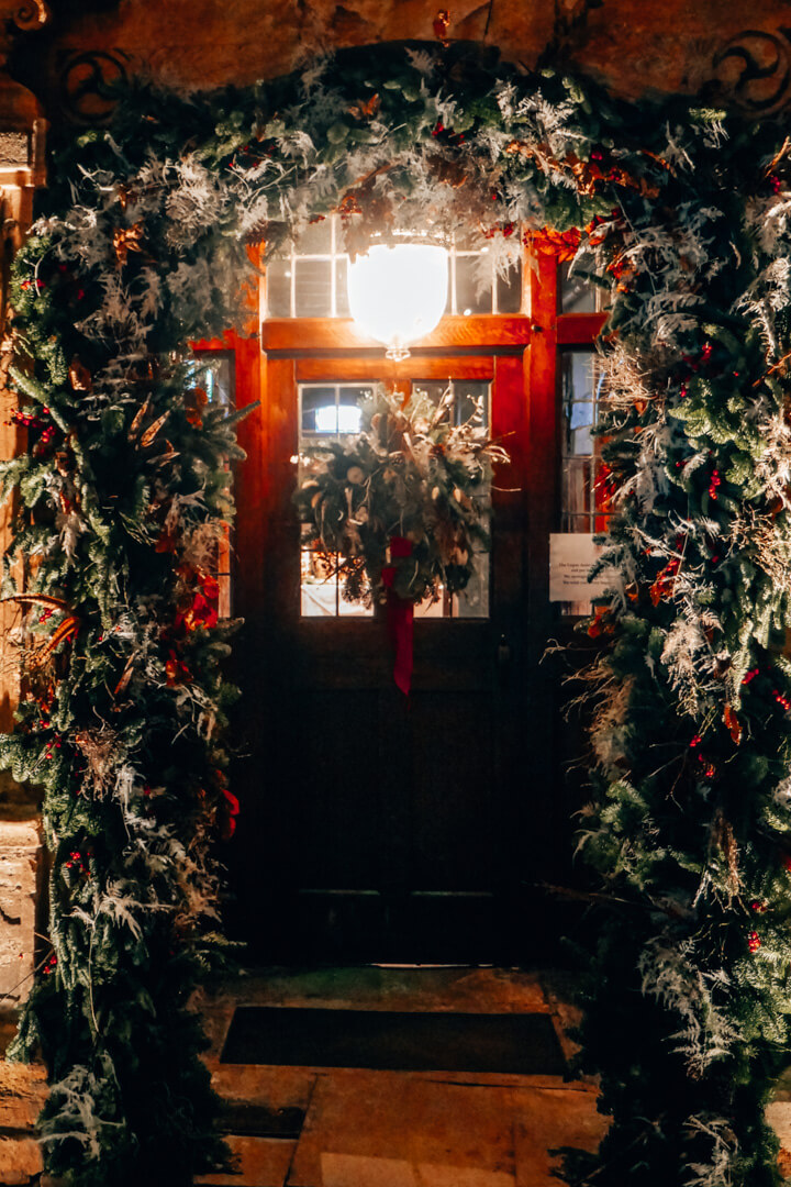A Christmas entrance to the Lygon Arms hotel in Broadway in the Cotswolds