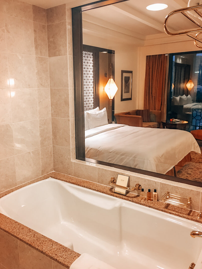 Bathroom in our Deluxe Sea View Room at the Shangri-La Al Husn in Muscat Oman