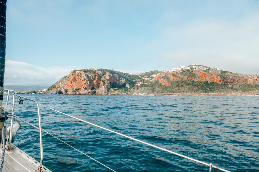 Sailing towards the Knysna Heads