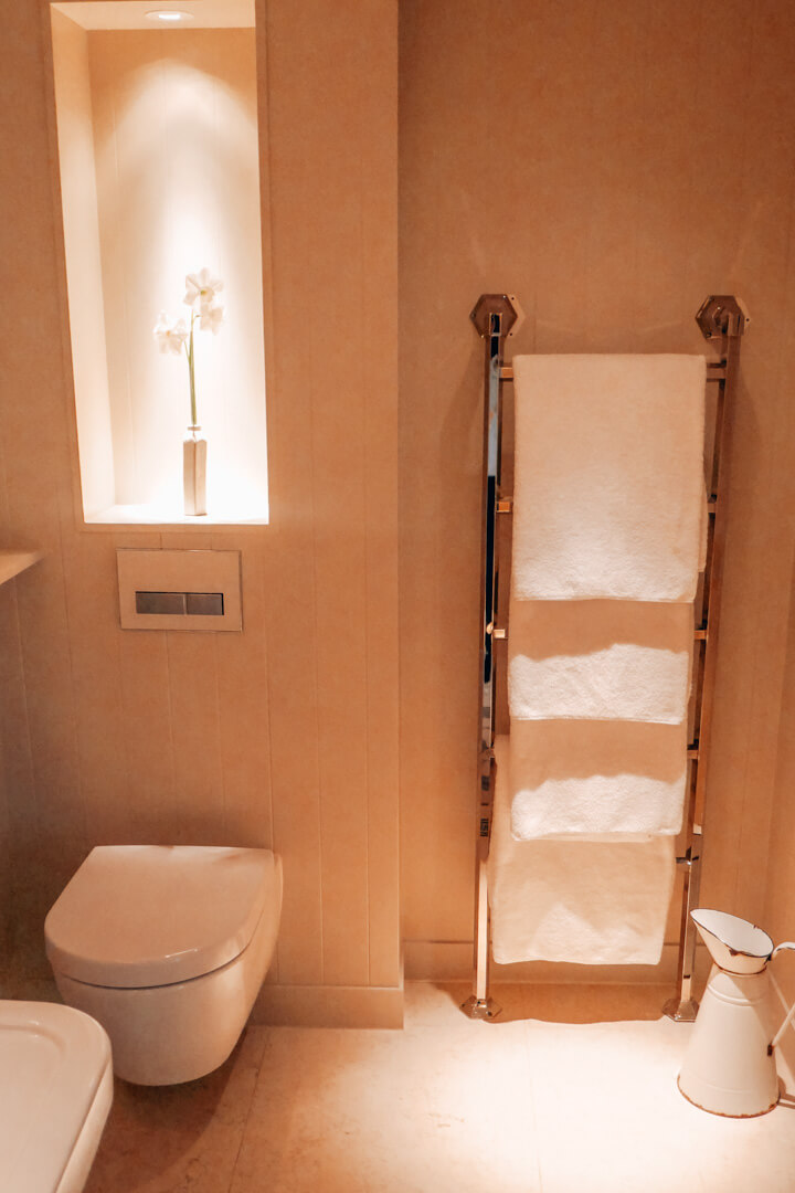 Bathroom in the Friends Room at Heckfield Place a luxury hotel in Hampshire