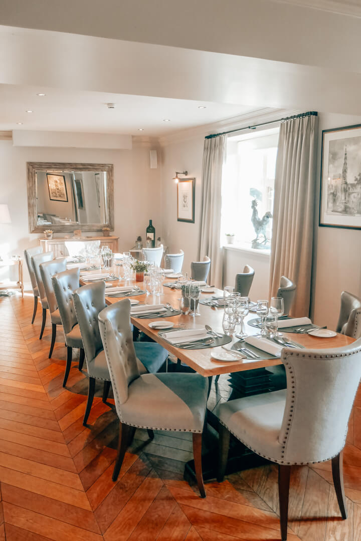 The Oxford Room the private dining room at Slaughters Manor House, a luxury boutique hotel in the Cotswolds
