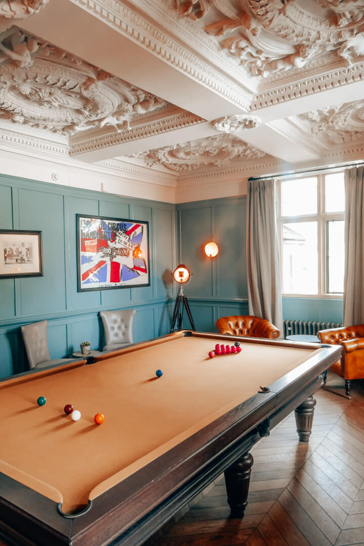 Billiard Room at Slaughters Manor House Hotel in The Cotswolds