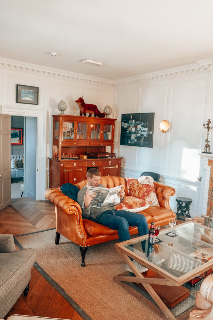 The library at Slaughters Manor House, a luxury boutique hotel in the Cotswolds