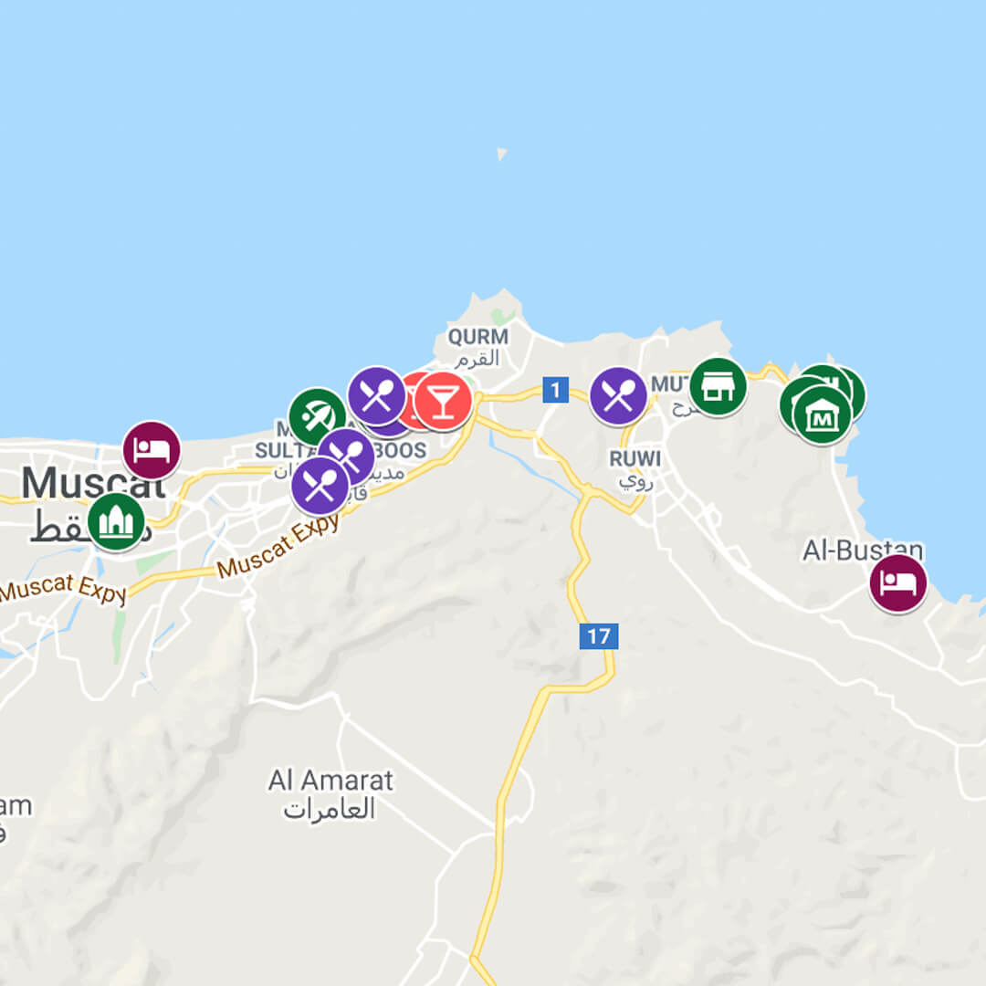 City Map of Muscat in Oman by luxury travel blog, Champagne on Arrival