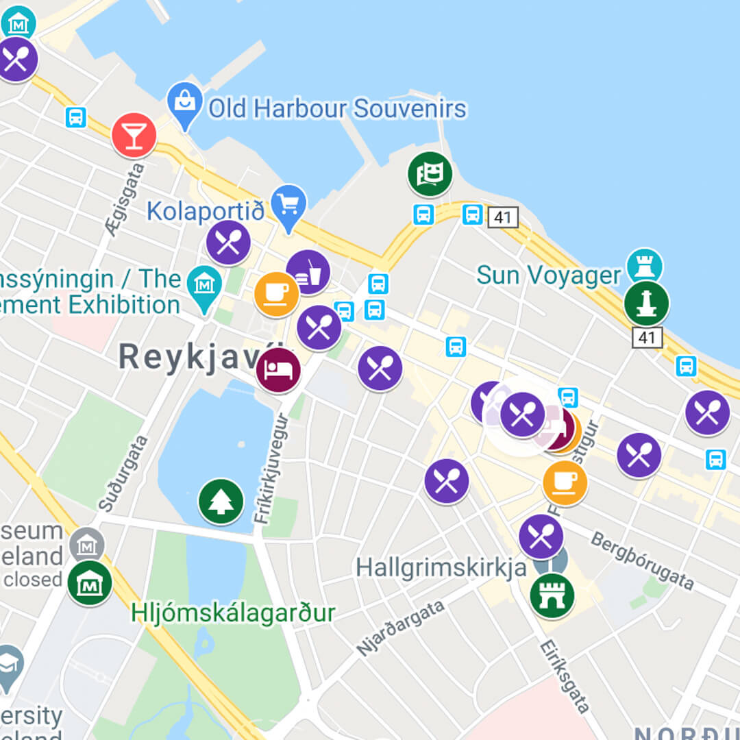 City Map of Reykjavik in Iceland by luxury travel blog, Champagne on Arrival