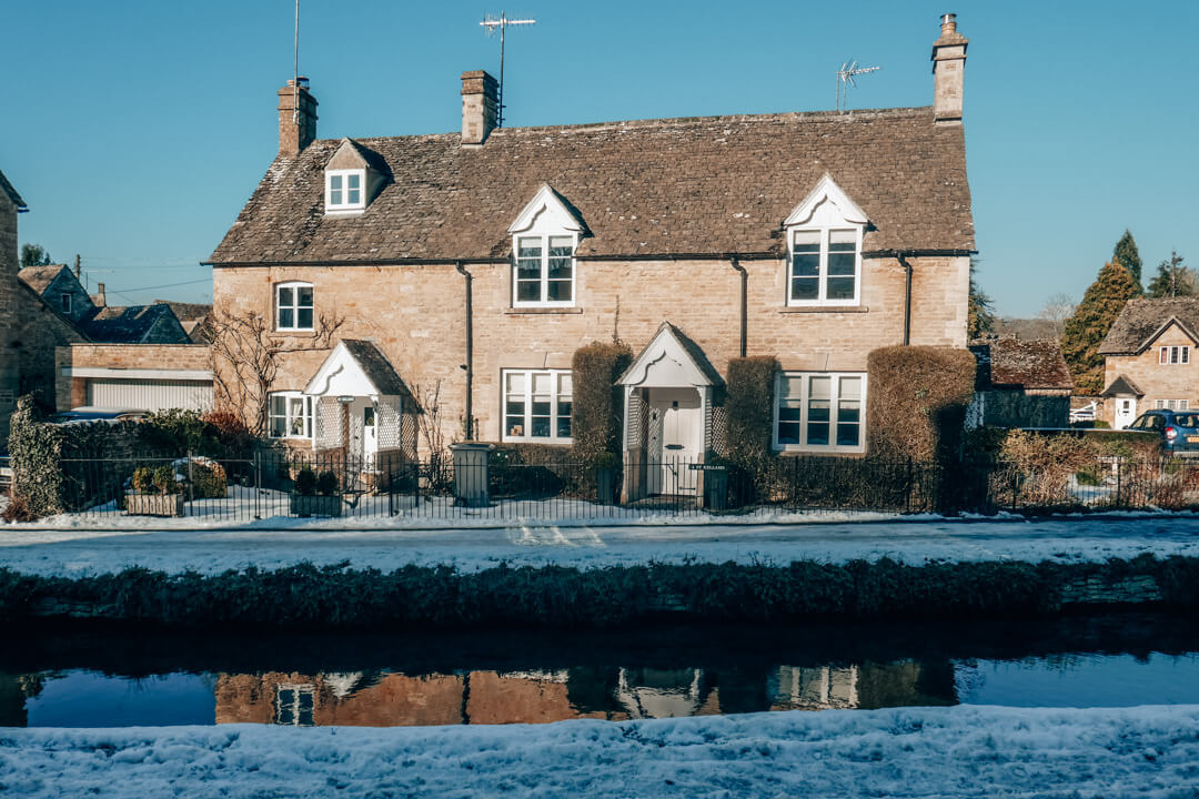 The Cotswolds Village of Lower Slaughter in the snow in winter