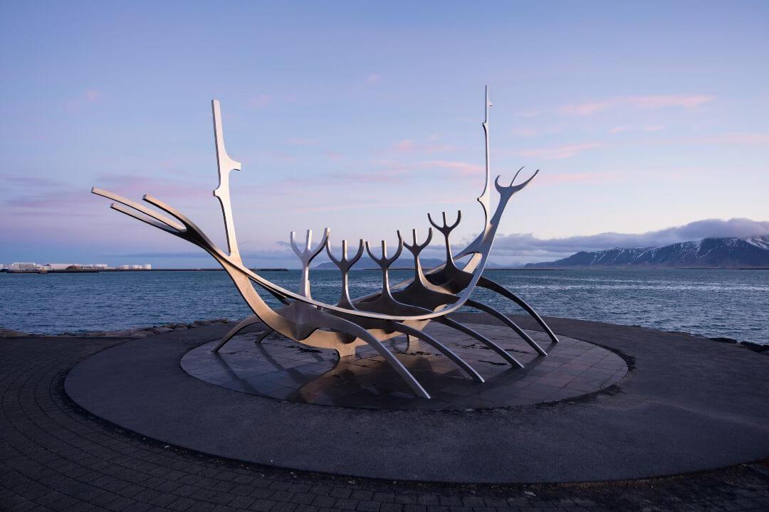 The Sun Voyager along the coastline in Reykavik Iceland