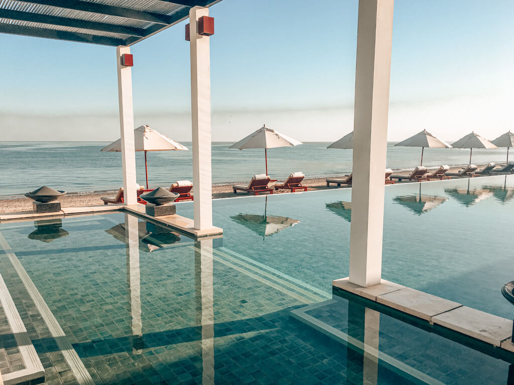 The future of travel post quarantine, an empty hotel pool at The Chedi Muscat Oman