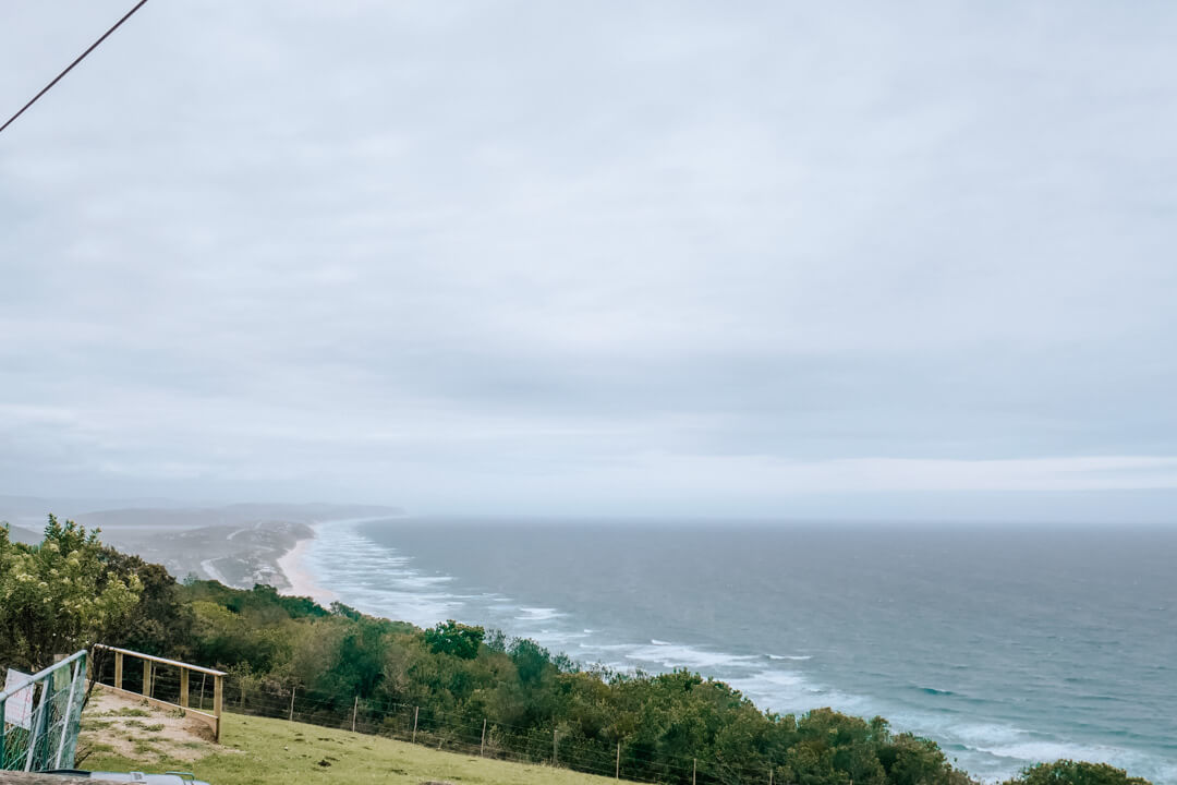 The view of the Wilderness coastline from the Outeniqua Mountains on the Garden Route in South Africa